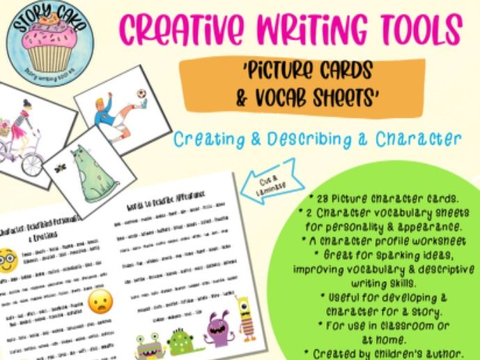 Character Picture Cards/ Prompts, improve vocabulary, creative & descriptive writing