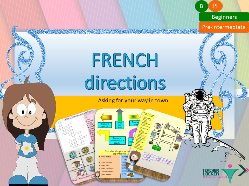 French directions in town, les directions for beginners with activities