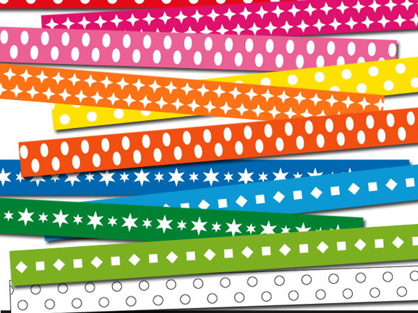 Digital ribbons clipart - basic everyday rainbow