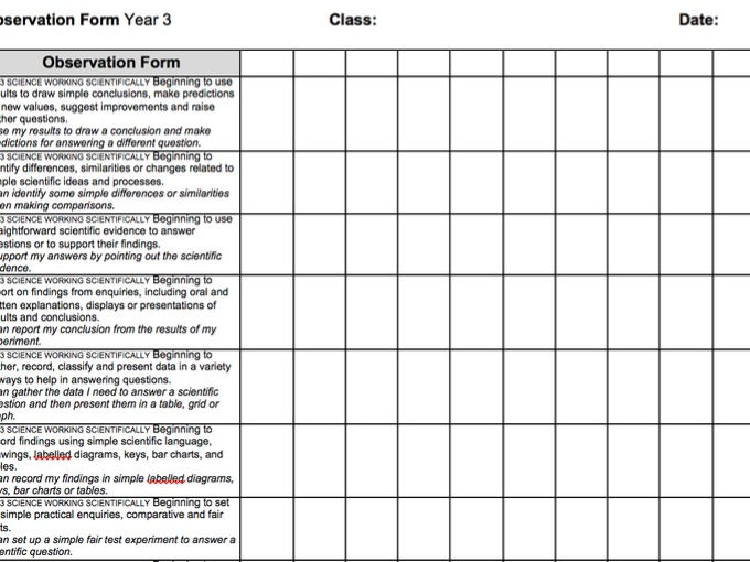 Year 3 2014 National Curriculum Science Assessment recording grid