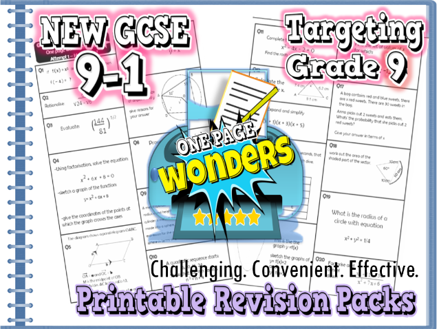 "New GCSE Maths 9-1 Higher Extension Revision Pack With Solutions- Target Grade 8/9 ""1-page wonders"""