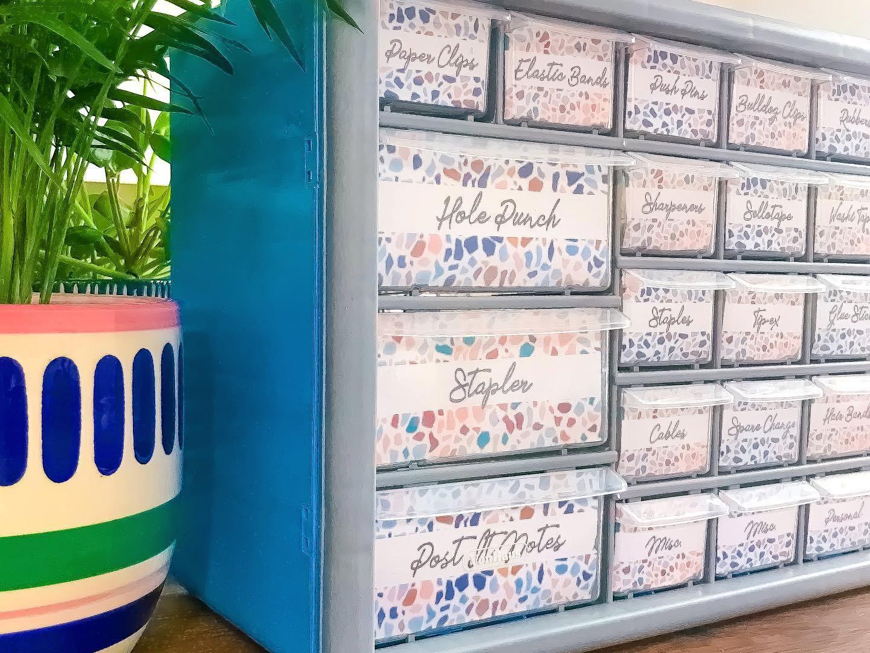 Terrazzo Teacher Toolbox Drawer Labels
