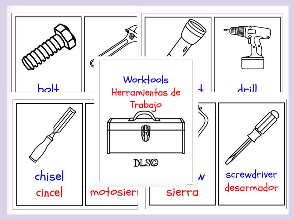 Worktools Flashcards English / Spanish