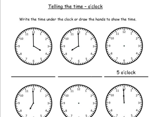 O'clock read and write times draw clock hands