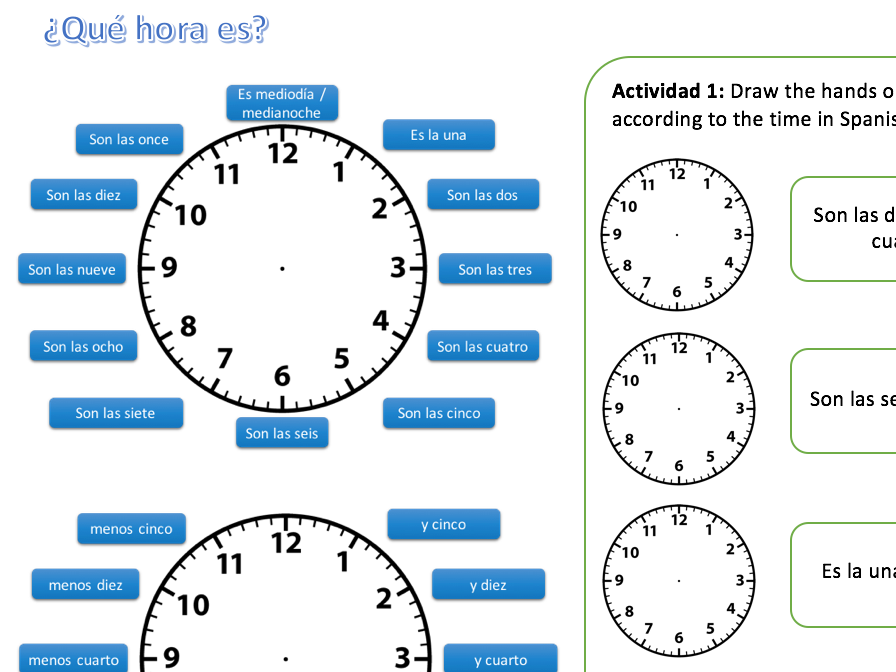 ¿Qué hora es? Spanish KS3 Worksheet - Telling The Time - Reading and Writing - PPT AVAILABLE