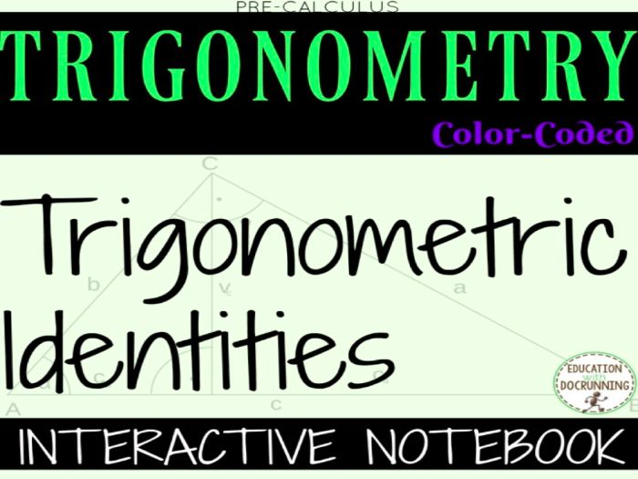 Trigonometric Identities Color Coded Interactive Notebook for PreCalculus