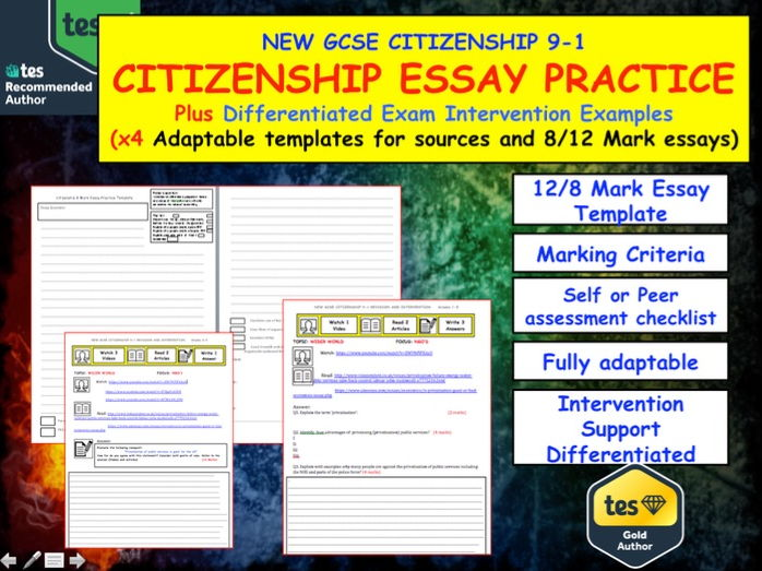 Citizenship GCSE Essay Practice templates and Intervention support.