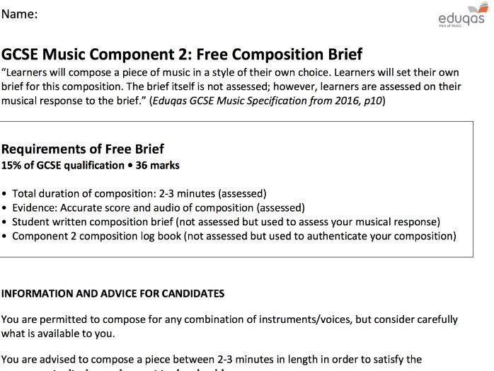 Eduqas GCSE Music: Free Composition Brief Worksheet