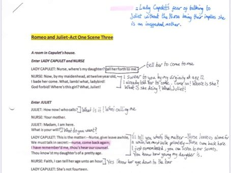 Romeo and Juliet A1S3 annotated