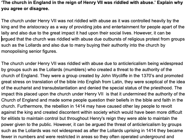 A level History Tudor Essay on Henry VII and the Church
