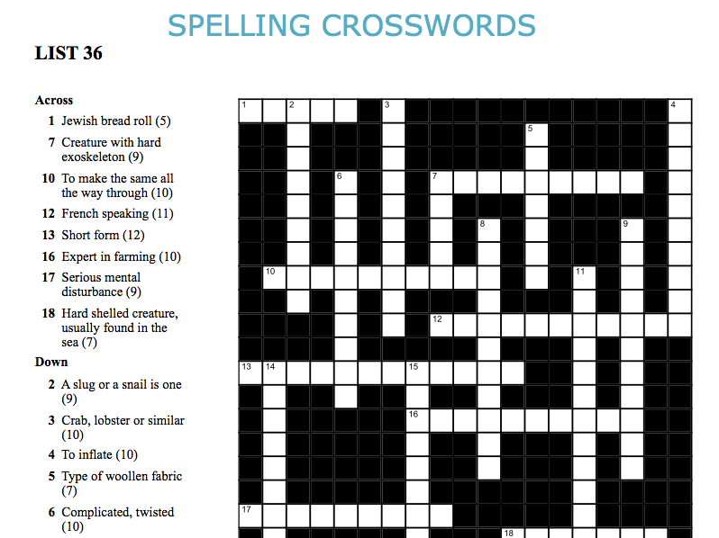 Graded Spelling and Vocabulary Crosswords 36-40