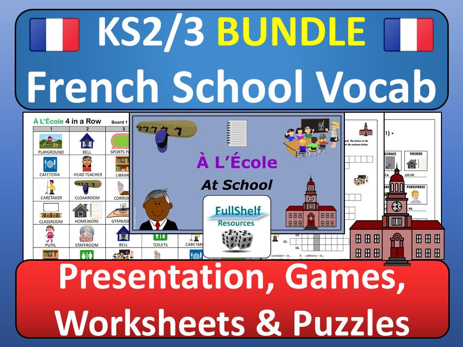 French School Vocabulary Ecole BUNDLE