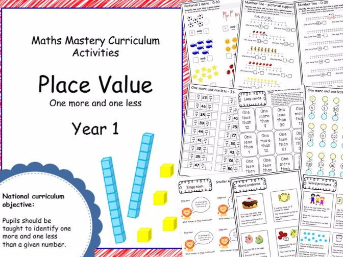 Place value mastery materials - Year 1 - 1 more and 1 less