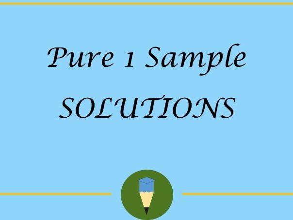 Pure Mathematics Sample Paper SOLUTIONS