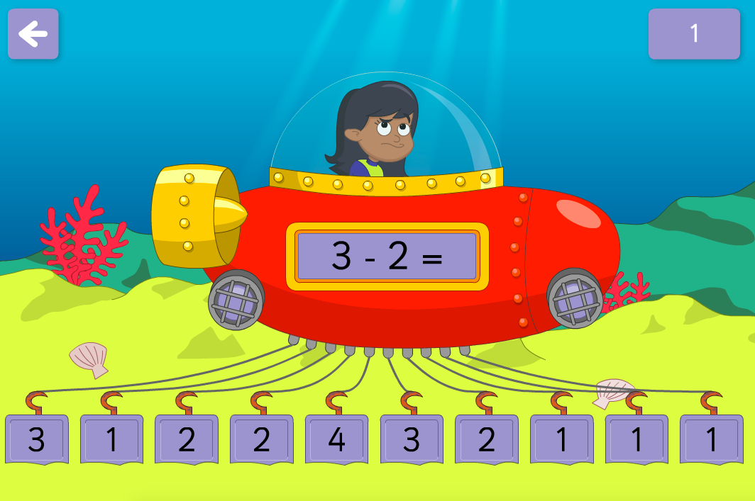 Subtraction to 100 - Release the Submarine Interactive Game - KS1 Number