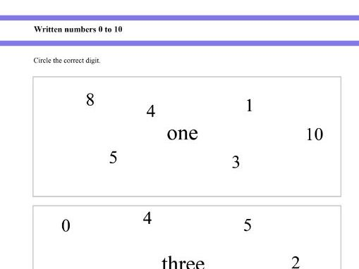 Written numbers - Zero to ten for Reception and Year 1 students