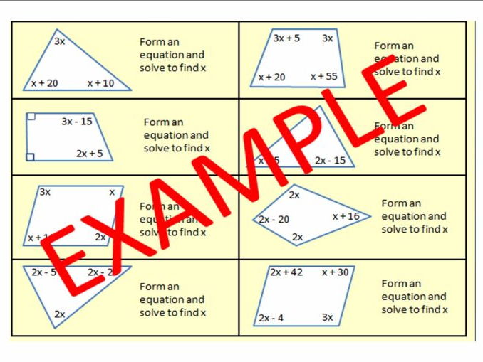 Forming and Solving Equations with ANGLES and ANGLES IN PARALLEL LINES (new 1-9 GCSE style)
