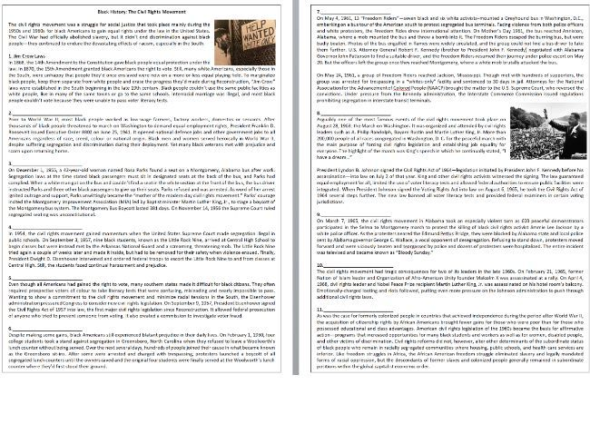 Black History: The Civil Rights Movement - Reading Comprehension Text
