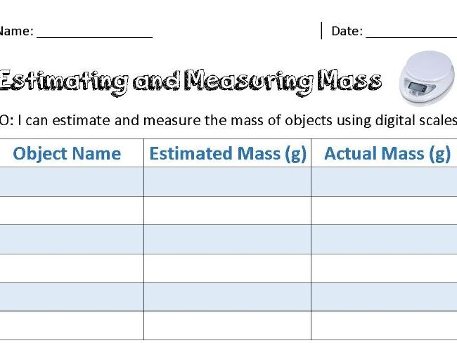 Estimating and Measuring Mass Using Digital Scales
