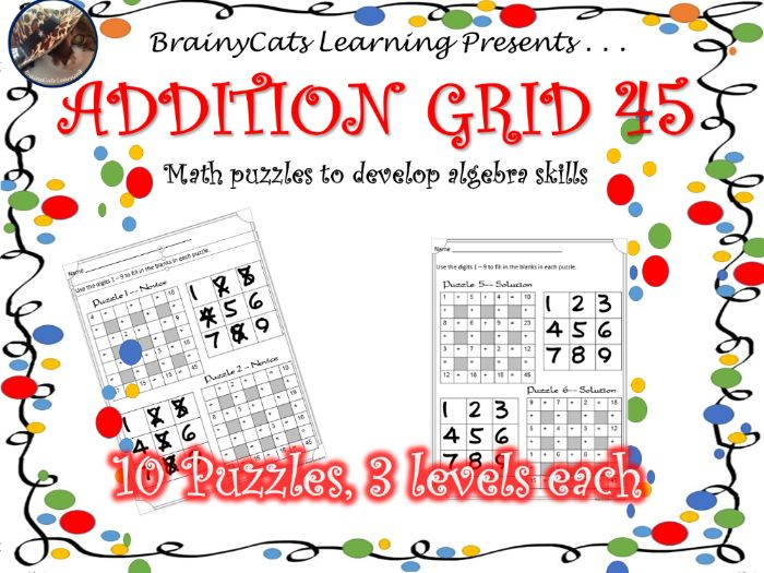 Addition Grid 45: Math Puzzles to Develop Algebraic Thinking