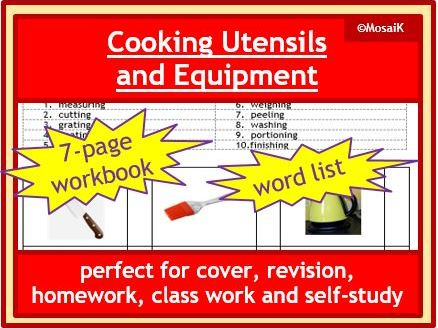 Food Tech: kitchen utensils & equipment,  7-page workbook, cover, revision, class work, homework...