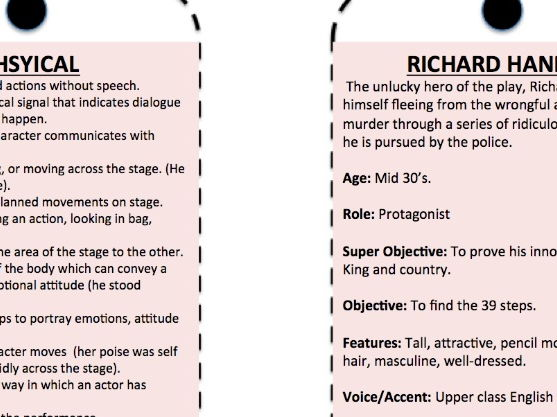 The 39 Steps Keyring/worksheet resource for the new AQA Set Text Spec