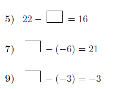 Subtraction of integers: Finding missing numbers worksheets (with solutions)