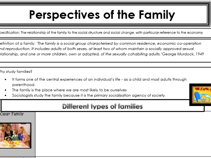AQA Sociology - Year 1 - Families & Households - Complete unit