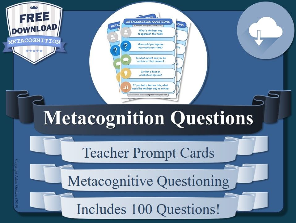 Metacognition Teacher's Prompt Cards (Free Metacognitive Tool)
