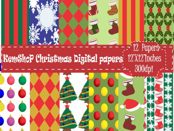 Digital Paper- Christmas Theme