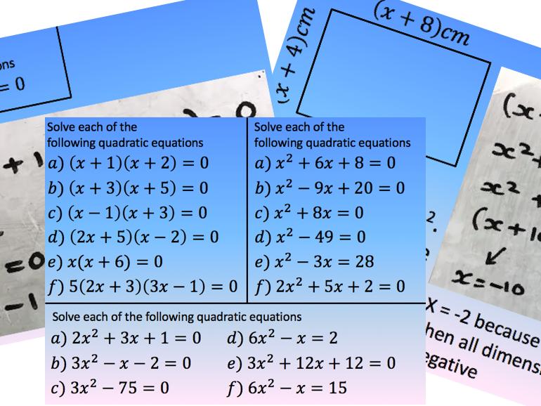 Solve a Quadratic - Factorising