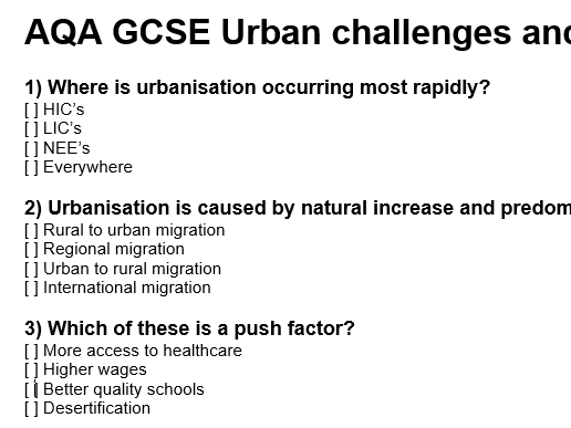 AQA Geography GCSE Paper 2 - Urban, Economic and Resources multiple choice quizzes