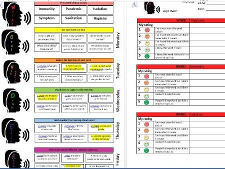 WONDER vocabulary technique sheets- COVID 19