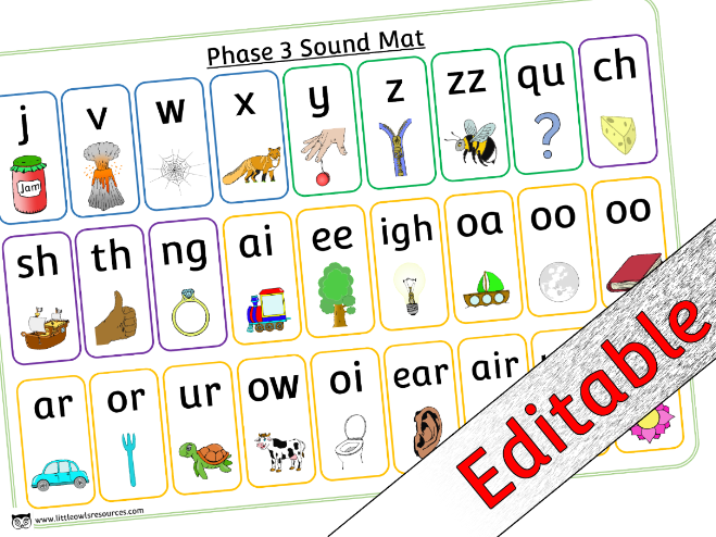 Phase 3 Phonics/Letters and Sounds - Mat - Editable