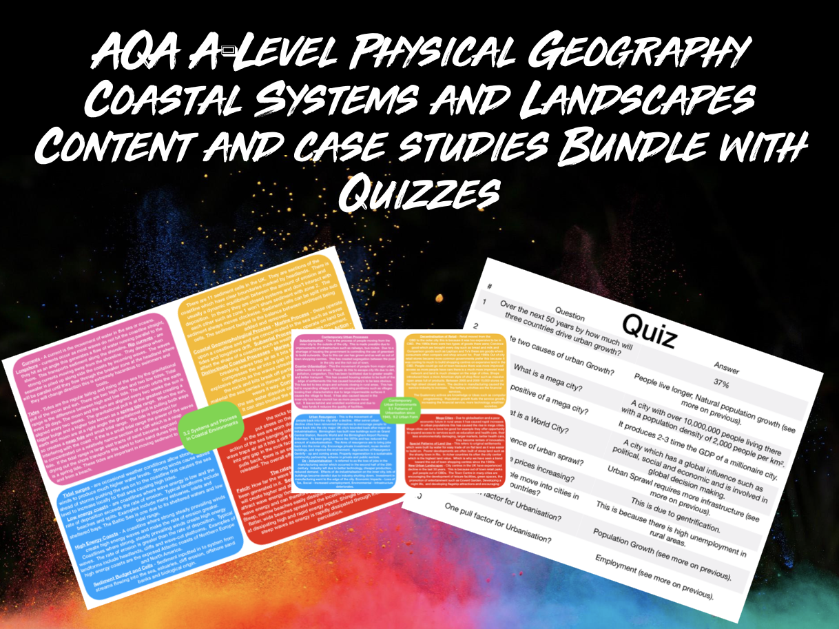 The ULTIMATE AQA A-Level Geography Coastal Systems and Landscapes Content and Case Studies Bundle With Quizzes
