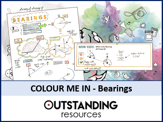 Colour Me In Sheets or Doodle Notes - Bearings