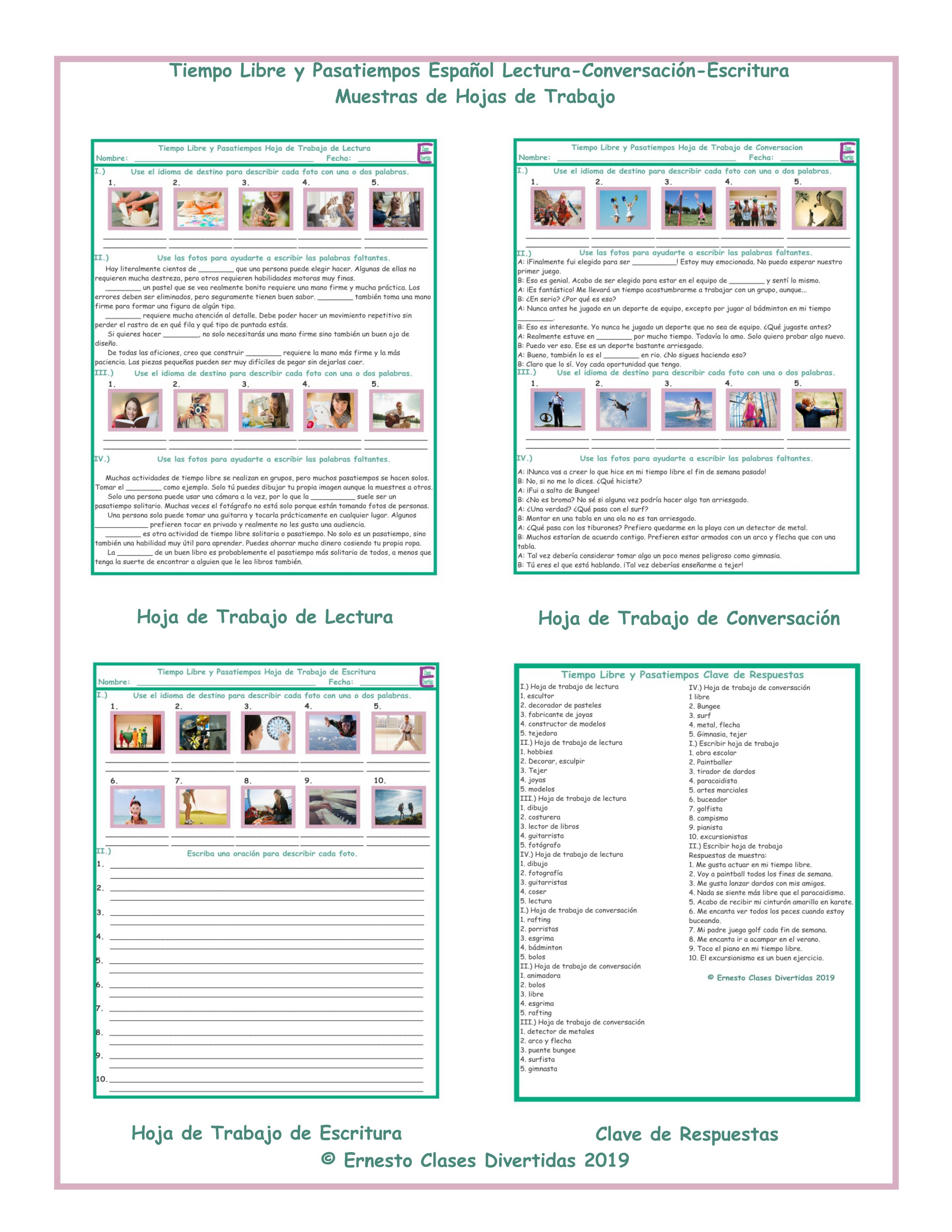 Free Time and Hobbies Spanish Reading-Conversation-Writing Worksheets