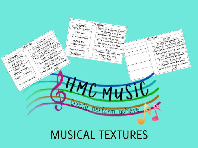 UNDERSTANDING MUSICAL TEXTURES GCSE/KS3  BUNDLE (SAVE 25%). Includes 'match up texture and meanings', 'texture complete the meanings worksheet', texture keywords activity', 'texture listening mat'.