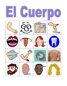 Cuerpo (Body in Spanish) Bingo game