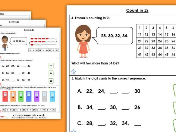 Year 1 Count in 2s Spring Block 2 Maths Homework Extension