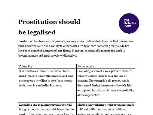 Debate Lesson Plan - Prostitution should be legalised