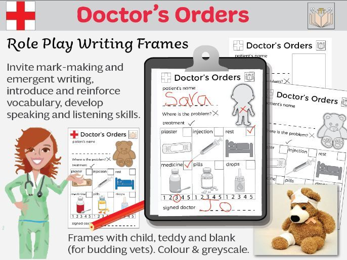 Doctor's Orders Role Play Writing Frames