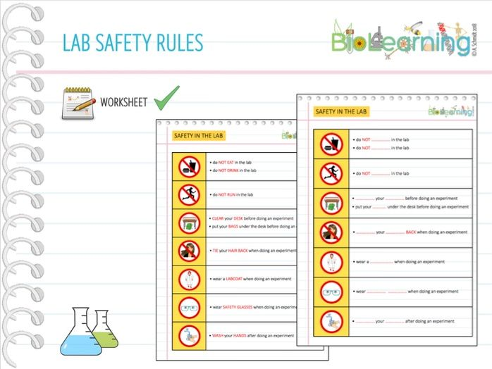 Lab safety rules - Worksheet (KS2/3/4/5)