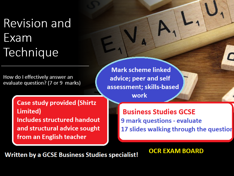 17 slides, 7-9 mark evaluate questions OCR Business Studies GCSE
