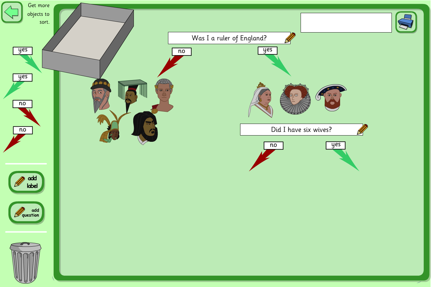 Decision Tree Interactive Activity - Kings, Queens and Rulers KS2