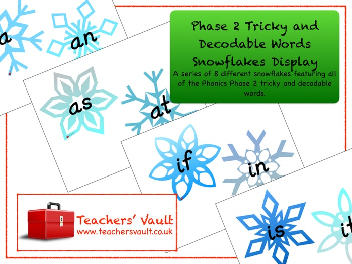 Phase 2 Tricky and Decodable Words Snowflakes Display