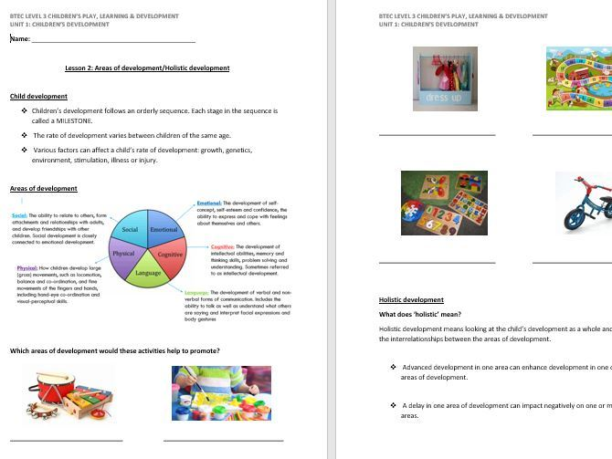 Holistic Development/Areas of Development lesson handout (CPLD L3 Unit 1)