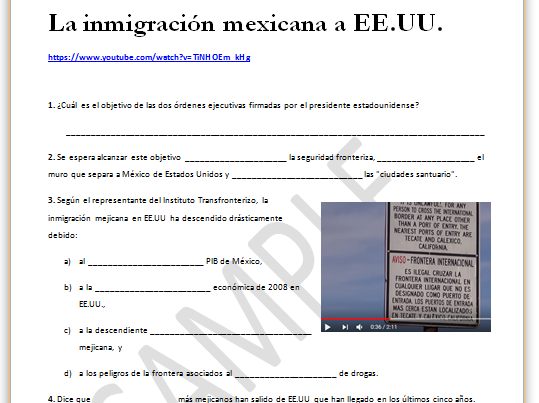AQA A-Level Spanish (Listening): Immigration from Mexico to US