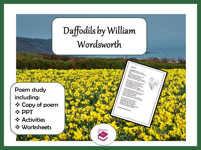 Daffodils by William Wordsworth: PPT, poem and worksheets