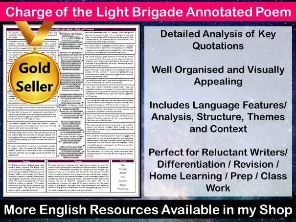 Charge of the Light Brigade Annotated Poem